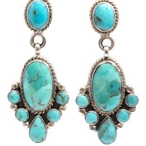 A G Sterling Silver Turquoise Drop Earrings